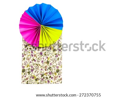 colourful papers and Polka dot fabric on white background. Abstract colorful polka dot fabric background. - stock photo