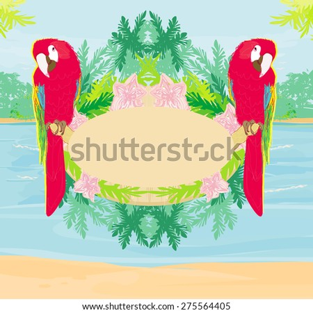 Colourful parrot bird sitting on the perch - abstract tropical frame  - stock photo