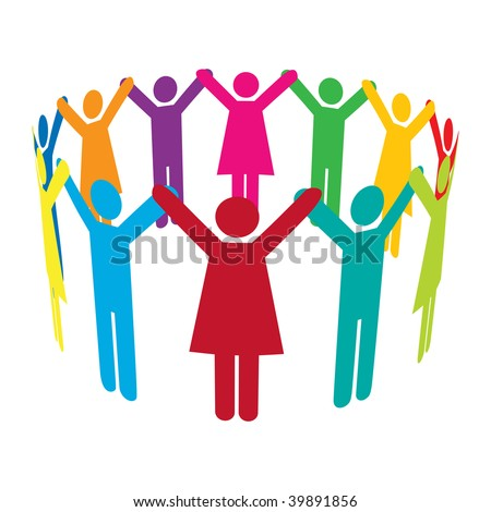 Colourful people holding hands high up in a circle