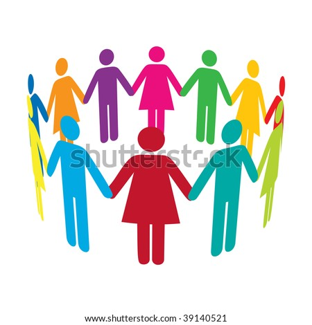 Colourful people holding hands in a circle - stock photo