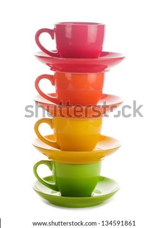 colourful rainbow cups isolated on white