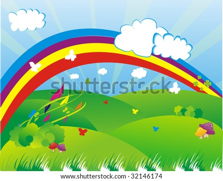 Colourful rainbow illustration in a beautiful landscape