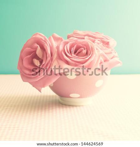 Colourful Retro Flowers - stock photo