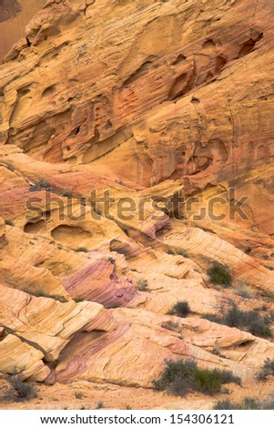 Colourful rock formations in The Valley of Fire State Park, Nevada, USA - stock photo