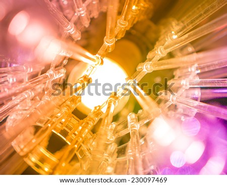 colourful science and technology background led rainbow light - stock photo