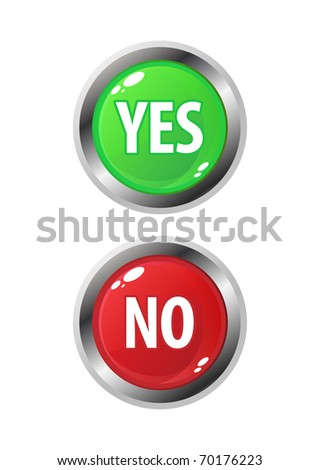 Colourful set of Yes/No buttons - stock photo
