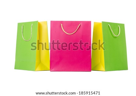 Colourful shopping bags isolated on white - stock photo
