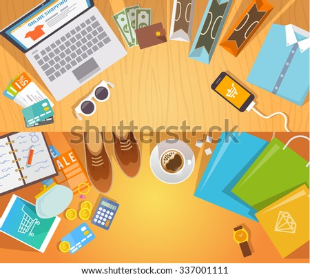 Colourful shopping flat banners set  for your business, web sites etc. Quality design illustrations, elements and concept. Online shopping. Buy online. Delivery. - stock photo