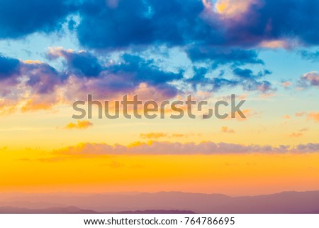 Colourful sky cloud twilight sunset, Landscape of nature background