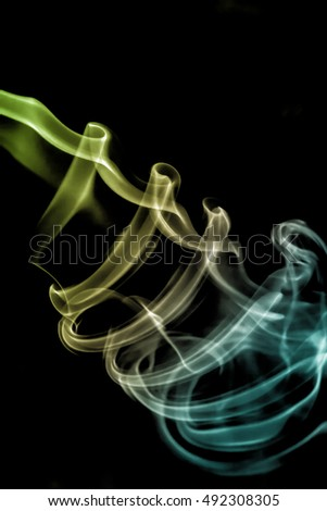Colourful smoke collection on black background