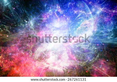 colourful space wallpaper  - stock photo
