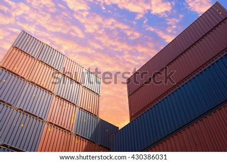 Colourful stack pattern of cargo shipping containers in shipping yard,dock yard for transportation,import,export industrial concept - stock photo