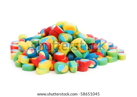 Colourful sweets isolated on the white background - stock photo