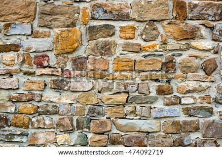 Colourful texture of old stone bricks. Quality photo background of brickwork. Good for 3D works or wallpaper, backdrop