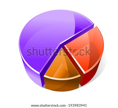 Colourful three dimensional pie graph with three slices in red, blue and brown showing analytical business statistics and percentages of the whole. Vector version also available in gallery - stock photo