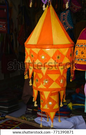 Colourful traditional cloth lamp shades shapes stock photo royalty colourful traditional cloth lamp shades with shapes mirror work chandeliar hanging in pipli mozeypictures Choice Image