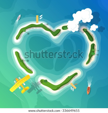 Colourful travel  flat illustration for your business, web sites etc. Quality design illustration, elements and concept. Time to Travel. Vacation in Paradise. Top view.  - stock photo
