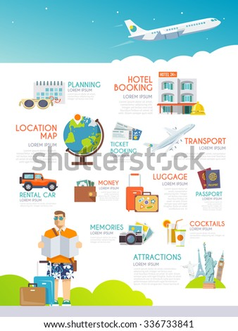 Colourful Travel Vector Infographic Concept Infographics Stock ...