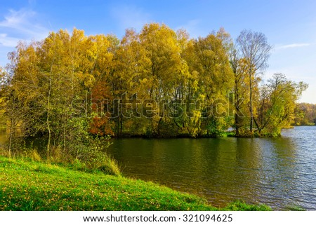 Colourful Trees and Green Grass near the Lake in Public Park at Sunny Day in Autumn