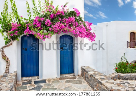 Colourful tropical purple bougainvillea creeper flowering over two blue doors on a whitewashed villa typical of Mediterranean architecture - stock photo