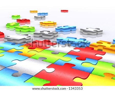 colourful unfinished puzzle over white - 3d render - stock photo