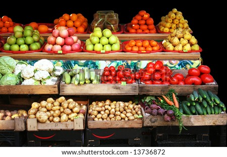 Colourful vegetable and fruit market - stock photo