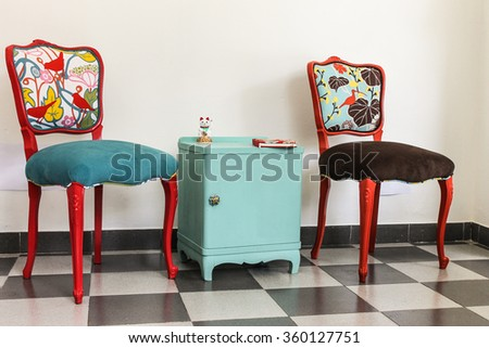 colourful vintage french chairs and bedside table - Chair As Bedside Table
