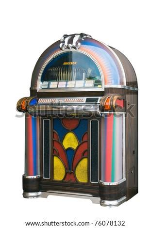 colourful vintage wooden jukebox - stock photo