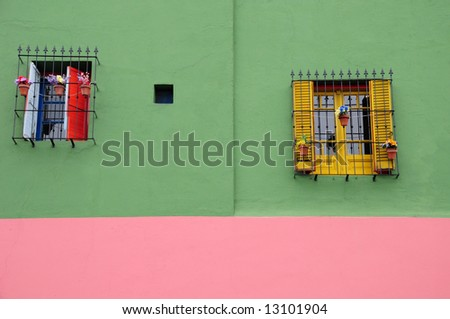 Colourful Walls and houses Of Caminito, La Boca, Buenos Aires, Argentina - stock photo