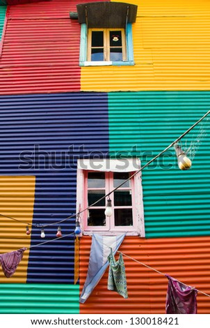Colourful window in La Boca, Buenos Aires, Argentina - stock photo