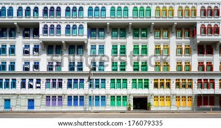 Colourful window shutters  of the MICA building near Clark Quay, Singapore - stock photo