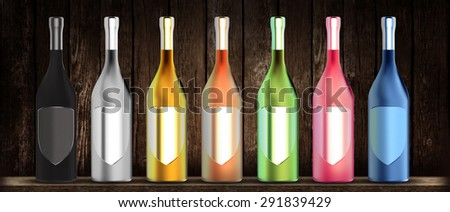 colourful wine bottles with twisting pattern in a row front of wooden background
