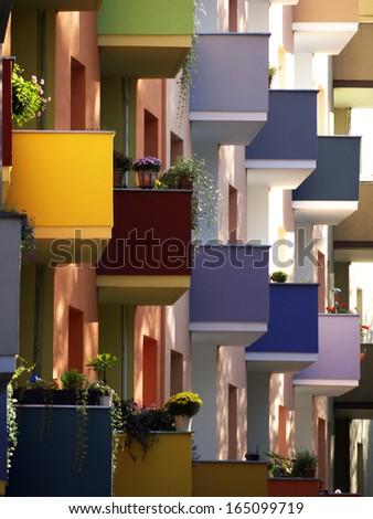 colourfull balconies, Germany - stock photo