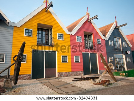 colourfull fishers houses near Zoutkamp Lauwersmeer Holland