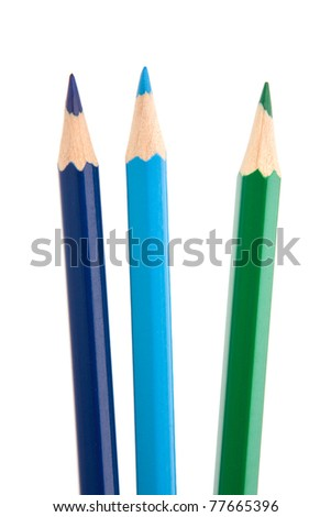 Colouring crayon pencils bunch isolated on white background - stock photo
