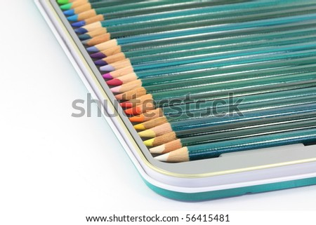 Colouring pencils in tin