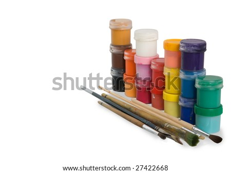 colouring with tubes and brushes. Isolated over white