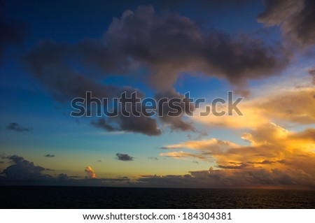 Colred Sunrise Clouds over the Atlantic Ocean in Tenerife Canary Islands