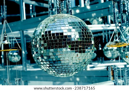 Colse up of disco balls background with mirror balls  / Disco balls/ Disco balls background with mirror balls. Outdoor view (disco, ball, shine)  - stock photo