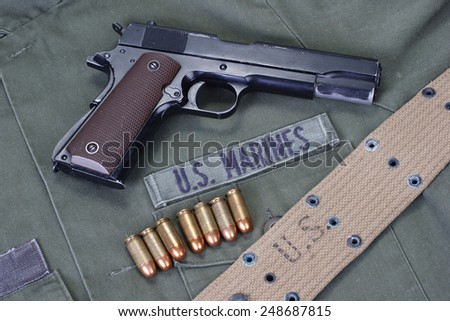 colt goverment m1911 with us marines uniform - stock photo