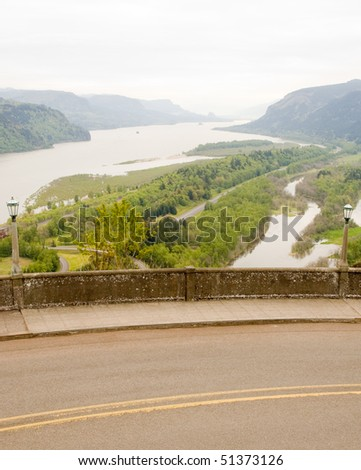 Columbia River Gorge and road - stock photo