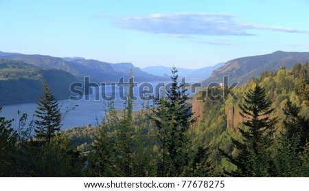 Columbia River Gorge & crown point panorama, Oregon. - stock photo