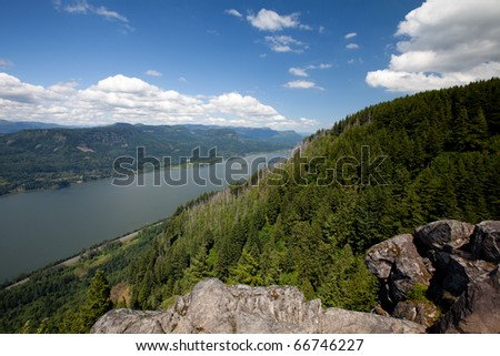 Columbia River Gorge from Angels Rest - stock photo