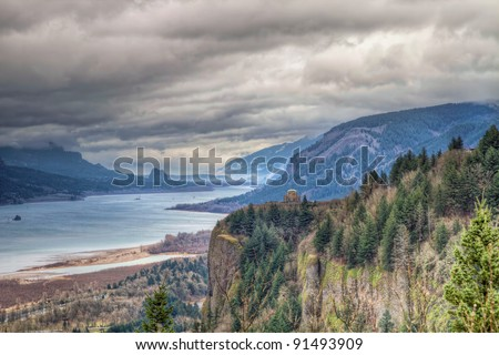 Columbia River Gorge Scenic View with Crown Point and Beacon Rock from Oregon Viewpoint