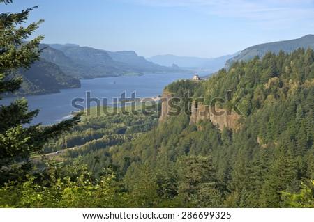 Columbia River Gorge Vista house and surrounding scene Oregon. - stock photo