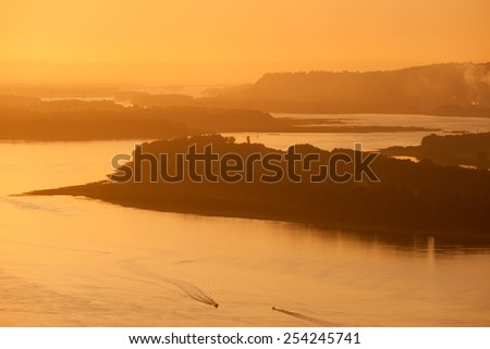 Columbia river, the largest in Pacific Northwest, at sunset - stock photo