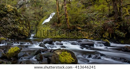 Columbia River Waterfall / Spring runoff from a Columbia River Gorge waterfall   - stock photo