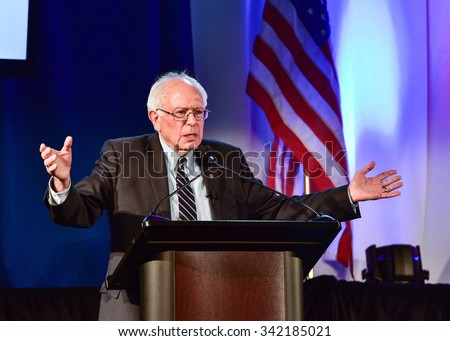 Columbia S.C. - November 21, 2015 - Bernie Sanders speaks at 20/20's Criminal Justice Forum which was held at Allen University.  Dr. Ben Carson and Martin' O'Malley were also in attendance.  - stock photo