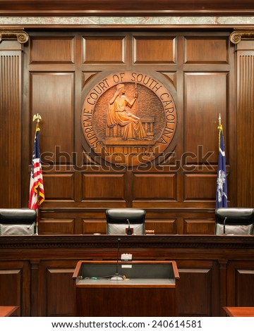 COLUMBIA, SOUTH CAROLINA - DECEMBER 10: South Carolina Supreme Court chamber on December 10, 2014 in Columbia, South Carolina - stock photo