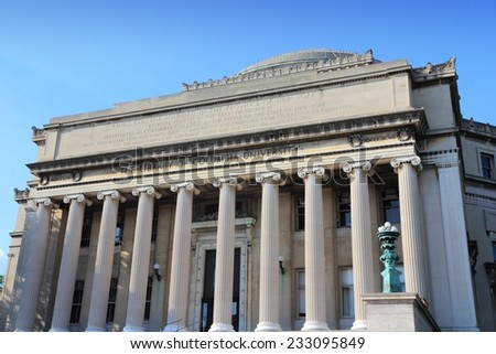 Columbia University library in New York City, United States - college in Upper Manhattan (Morningside Heights neighborhood of Upper West Side). - stock photo